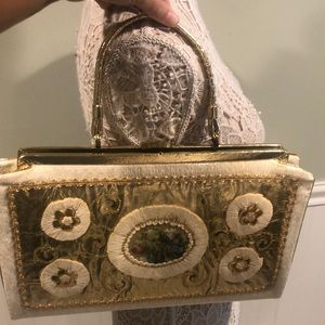 Vintage 50s Mixed Media Gold & Needlepoint Handbag